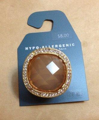 【飾界美~殺很大】歐美品牌 HYPO-ALLERGENIC 高質感橘閃鑽造形戒指~最後一只現貨下標即售