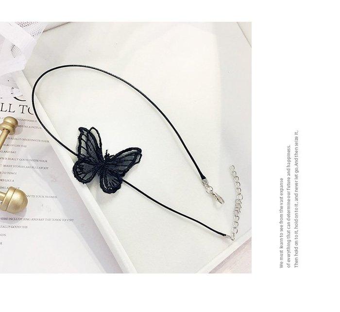 蕾絲蝴蝶性感頸鍊 頸帶 鎖骨鏈 脖子飾品 項圈