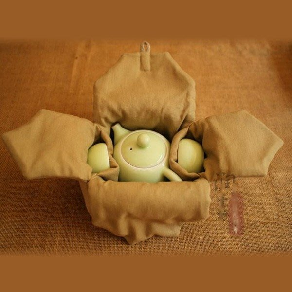 5Cgo【茗道】含稅會員有優惠 41065985335 茶道泡茶壺整理袋棉麻杯袋四方袋一壺2杯旅行包加棉加厚茶具收納包袋