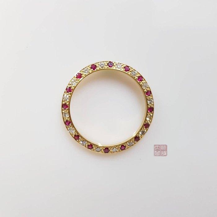 69178 69173 女用精鑲鑽石外圈 18k金鑽石紅寶石材質 鑽石每顆約2.5分附店保卡 大眾當舖 編號3393