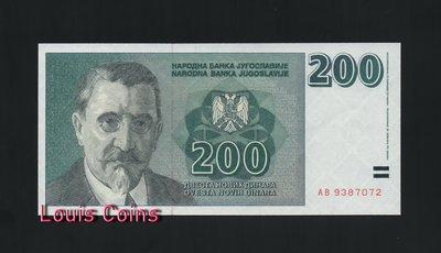 【Louis Coins】B145-YUGOSLAVIA-1999南斯拉夫未發行紙幣-200 Novih Dinara