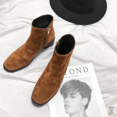短靴女粗跟韓版百搭復古春秋單靴冬季絨面側拉鏈靴子馬丁靴英倫風