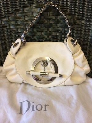 全新 Dior 白色 牛皮手提包 肩背包 有保卡