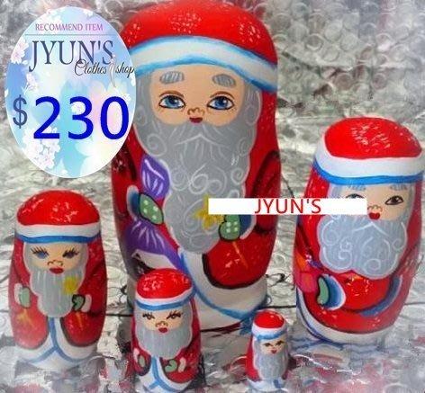 套件 設計手工木質立體灰鬍子聖誕老人椴木俄羅斯套娃娃擺件進口正品5層生日禮物禮品情人節1色-JYUN'S預購