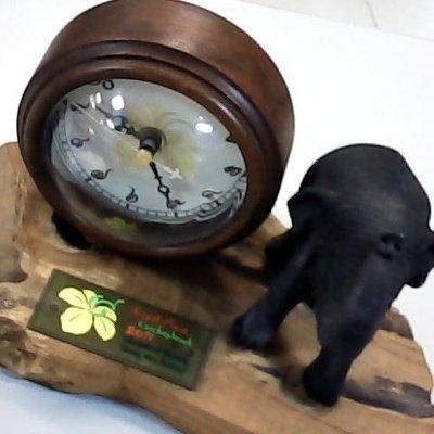 泰國  大象 扶桑花 桌鐘 擺飾 紀念 收藏 (木製)