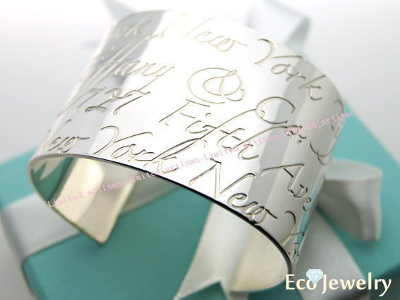 《Eco-jewelry》【Tiffany&Co】經典款 Notes系列寬版開口手環 純銀925手環~專櫃真品已送洗