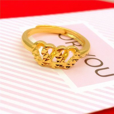 送禮佳品 新款鍍金歐幣金戒指女 久不掉色日韓仿黃金飾品 心形沙金戒指活口