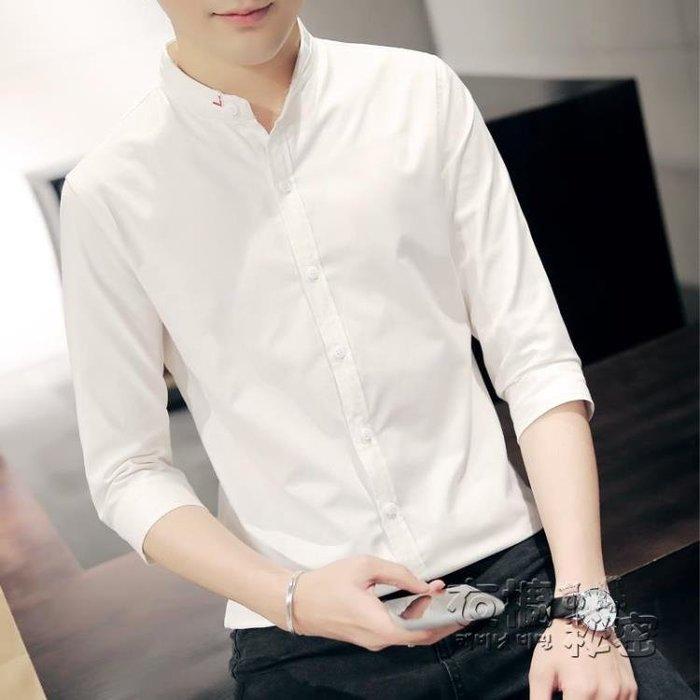 夏季白7七分袖襯衫男士韓版修身潮流帥氣學生立領短袖襯衣中袖