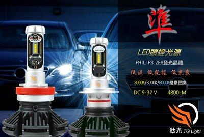鈦光 TG Light LED大燈4800流明 高亮度 光型準 直上安裝H4 H7 H11 9005 9006 9012