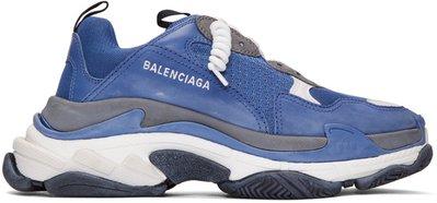 ~The Black Dan Moccani~ [秒殺] BALENCIAGA Triple S 藍x灰 三疊橡膠老爹鞋