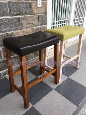 【N D Furniture】台南在地家具-經典舒適耐坐水洗白色全實木綠布墊吧椅/吧檯椅(另有其他色可挑)BG