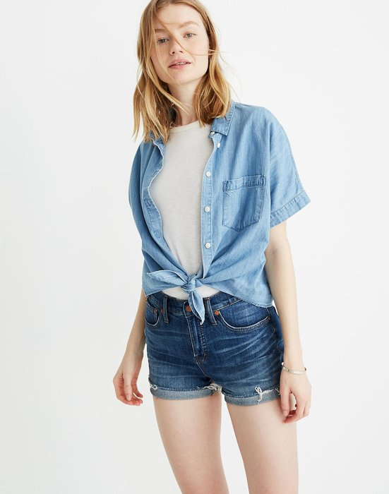 【BJ.GO】美國 madewell Denim Short-Sleeve Tie-Front Shir牛仔短袖繫帶襯衫