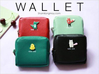 HAPPY+【V5338】韓風 日系 動物森林 零錢包 收納包 皮夾 卡包 硬幣 鑰匙包 錢袋 VIVI款 簡約經典