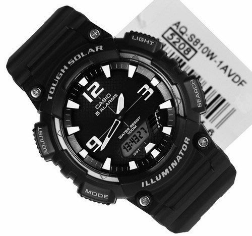 CASIO WATCH 卡西歐AQ-S810W-1AVDF多功能運動風太陽能雙顯腕錶