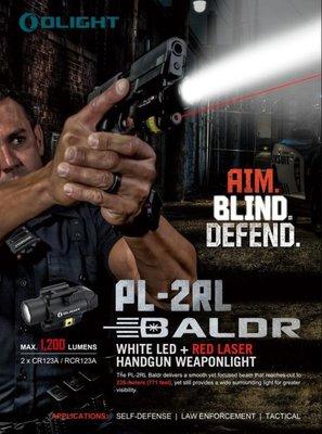 【LED Lifeway】新款 Olight PL-2RL (公司貨-附電池) 1200流明 235米射程 紅雷射手槍燈