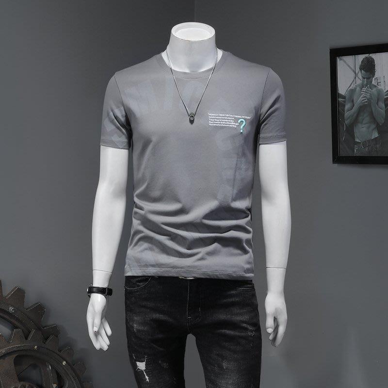 EXIT ONLINE男裝男士短袖T恤2020新款夏季絲光棉印花刺繡半袖修身純棉半截袖潮流