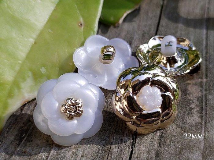 DAda緞帶‧1042Y-22mm特訂款.優雅珍珠/金玫瑰造型鈕扣1個$18.日本飾品職人追