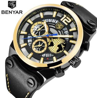 【潮裡潮氣】BENYAR賓雅石英錶大錶盤新品男手錶多功能運動男式錶5141M