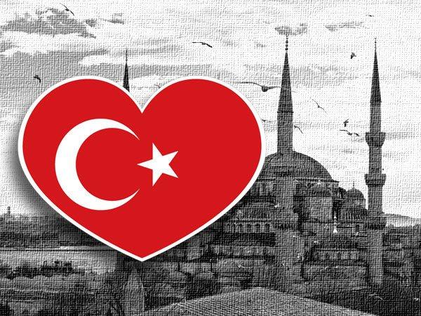 【國旗貼紙專賣店】土耳其愛心形旅行箱貼紙/抗UV防水/多國款可收集和客製