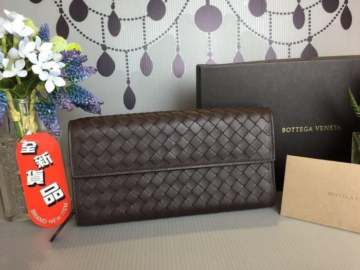 《真愛名牌精品》Bottega Veneta (BV) 150509  咖啡色 翻蓋長夾*全新品*