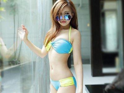 ☆雙兒網☆韓繽紛亮眼撞色比基尼泳裝【O2599】春吶海邊必備可搭配隱形胸罩