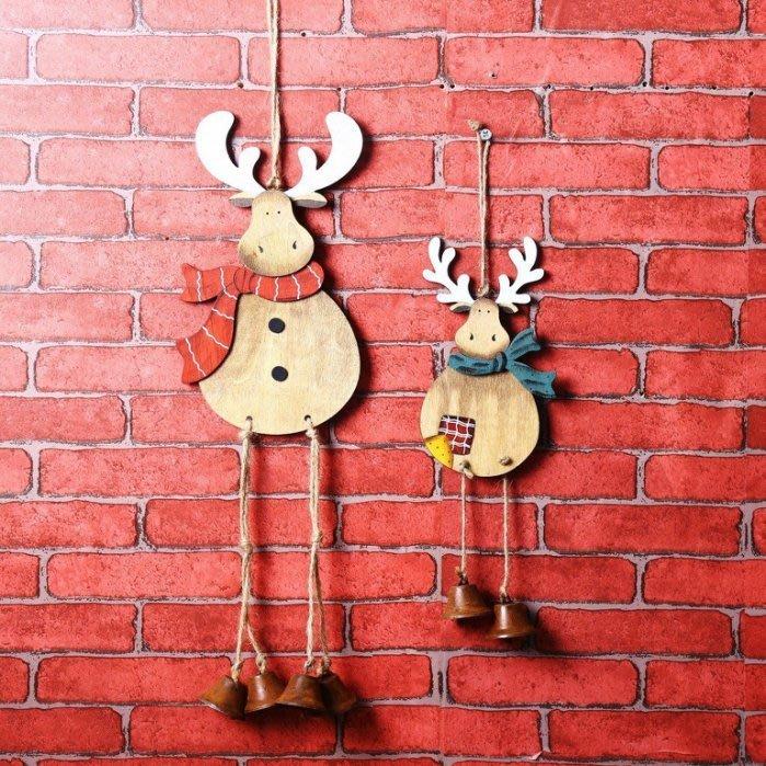 【WQ 442】風鈴 門鈴 手繪 聖誕節 吊飾 飾品 開店 裝潢 麋鹿 馴鹿 聖誕 掛飾 牆壁 裝飾