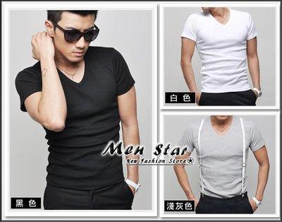【Men Star】免運費 韓版短袖V...