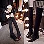 真皮過膝靴 低跟長靴-時尚擦色圓頭內增高女鞋2色73iv8[獨家進口][米蘭精品]