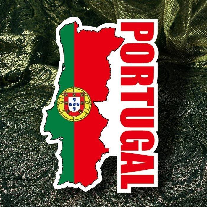 【國旗貼紙專賣店】葡萄牙國旗地圖抗UV、防水行李箱貼紙/Portugal/多國款可訂製