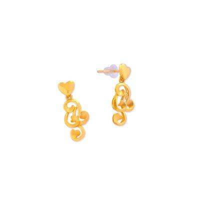 【JHT 金宏總珠寶/GIA鑽石】1.11錢永結同心耳環【價格依當日金價計算 (請來電洽詢)】