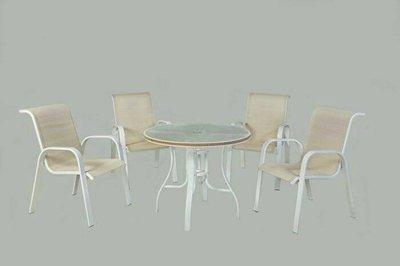 [兄弟牌戶外休閒傢俱]鋁合金中背紗網椅4張+90cm鋁製編藤庭院桌/餐椅,一桌四椅組合~免運費庭園休閒傢俱!!