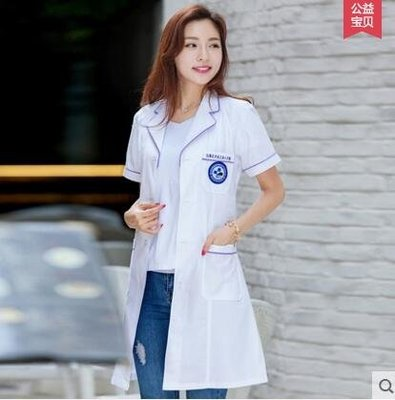 半永久韓版白大褂短袖醫生服女護士服夏裝長袖美容院紋繡師工作服【純白、紫邊】