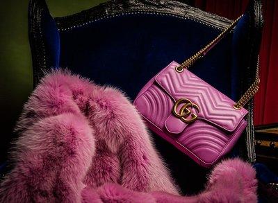 Christian Dior 迪奧桃紅色皮草披肩