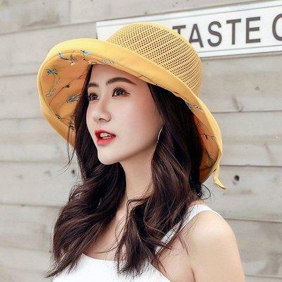 韓版氣質蝴蝶結遮陽帽 可折疊防曬沙灘帽 漁夫帽(W412)