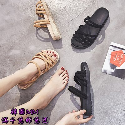 韓國MM= 兩穿網紅羅馬鞋女時尚新款夏女羅馬風平底韓版百搭涼鞋女 =鞋墊/局部鞋墊/增高鞋墊/舒適鞋墊/其他鞋墊