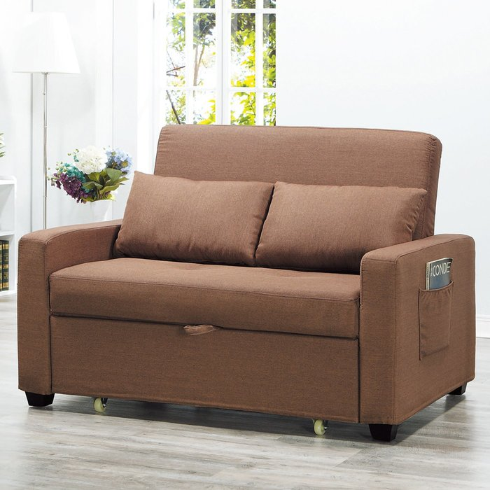 【在地人傢俱】19 樂樂購-942咖啡色布2人/二人/雙人沙發床/沙發椅 JL92-1