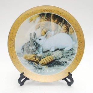 INPHIC-ZF-P007 景德鎮陶瓷盤 雕金裝飾盤 粉彩盤 掛盤 玉兔 工藝品擺設