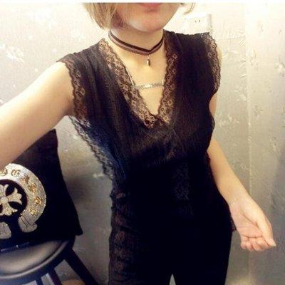 歐貨新款蕾絲衫打底衫無袖背心洋氣純色女t恤