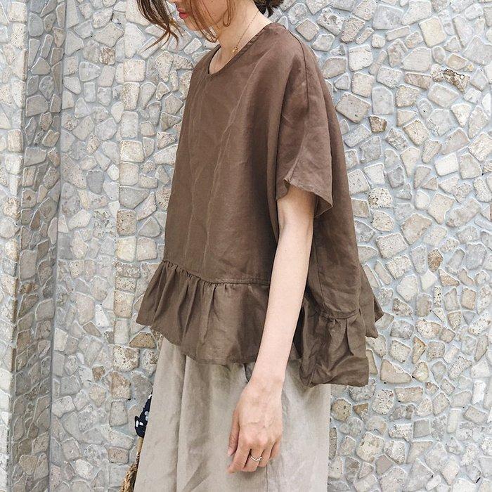 棉麻襯衫大碼荷葉邊棉麻娃娃衫寬鬆蝙蝠袖短袖襯衫
