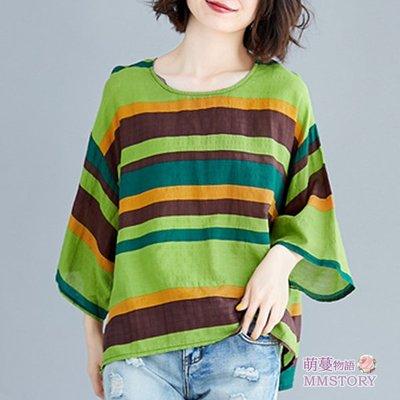 女上衣 文藝條紋印花寬鬆棉麻衫 短袖襯衫【KX1495】中大尺碼