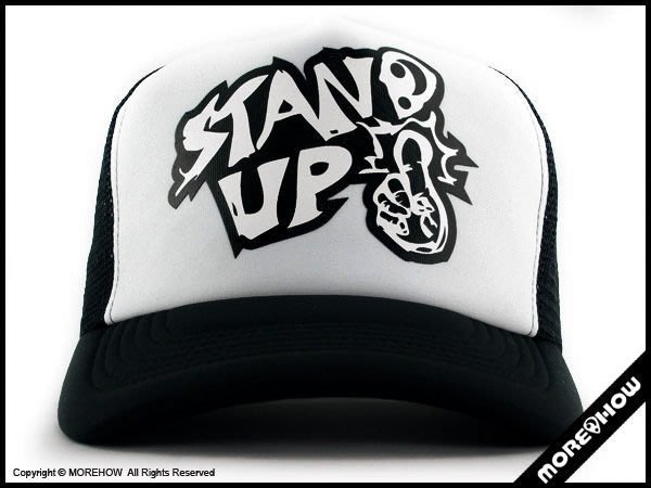A《 MOREHOW 》STAND UP CAP 網帽 黑/白配色 卡車帽 優惠免運費