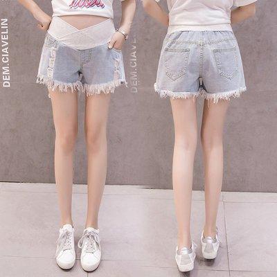 時尚夏季孕婦牛仔短褲寬松大碼低腰托腹打底褲子時尚破洞懷孕熱褲潮媽