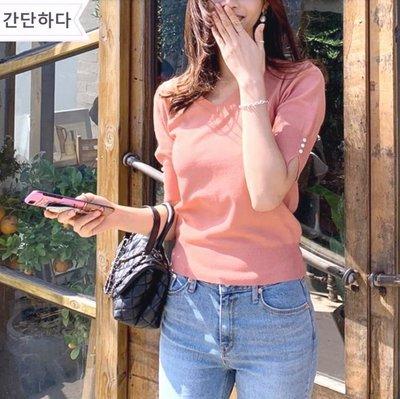 正韓-短袖v領珍珠扣冰絲針織衫