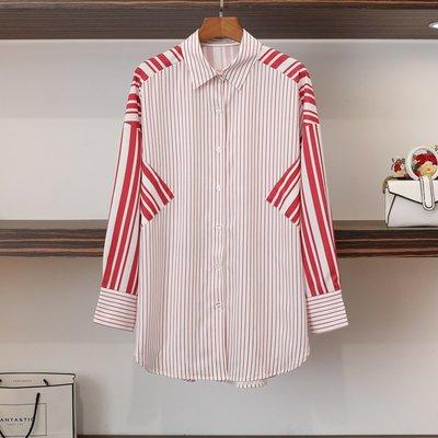 ♥ 裁縫師公主 ♥梁安妮同款紅色豎條紋拼接中長款寬鬆襯衫