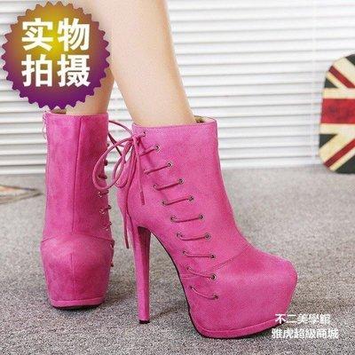【格倫雅】^性感側系帶圓頭馬丁靴歐美絨面超高跟細跟女短靴47272[g-l-y17
