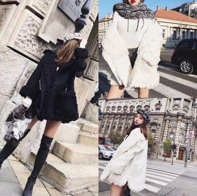 [ ohya梨花 ] =韓國帶回=秋冬新款名媛穿搭白色/黑色圈圈毛羔羊長大衣外套