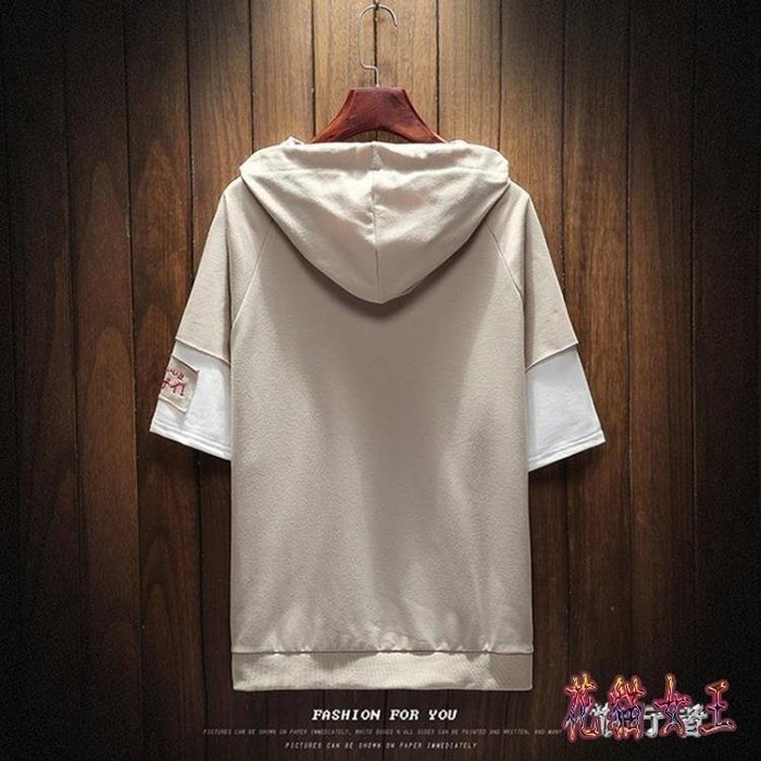 [新品]拼接刺繡五分袖連帽衛衣 夏季男士短袖恤潮流半袖衣服薄款  〖影時代〗