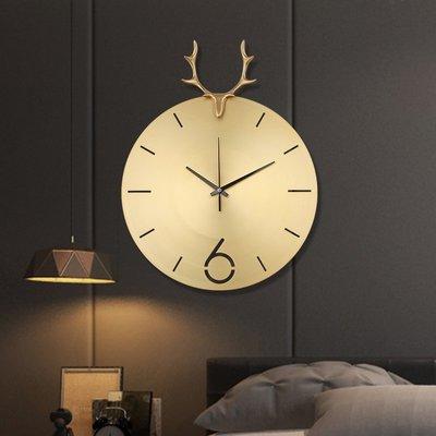時鐘 掛鐘 鐘表家用客廳個性創意時尚北歐掛表現代簡約大氣純銅鹿頭輕奢掛鐘