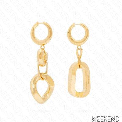 【WEEKEND】 BALENCIAGA 巴黎世家 Mismatch 不對稱 大尺寸 金屬 一對 耳環 金色