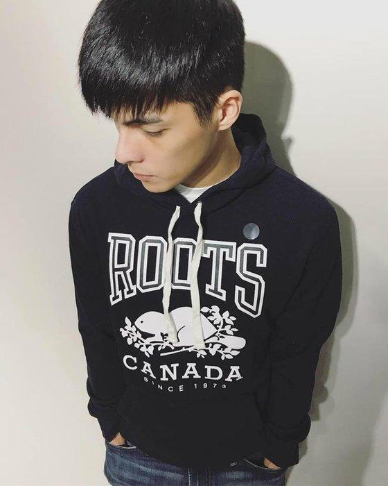 美國百分百【全新真品】Roots 加拿大海貍 經典棉質連帽 長袖 T恤 帽T logo 深藍 男 XS號 I949